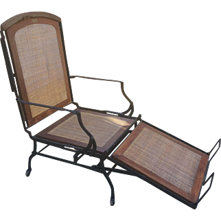 Antique 19th C Marks Adjustable Folding Chair Chaise Lounge Industrial Invalid Innovative Architectural Unique Seating