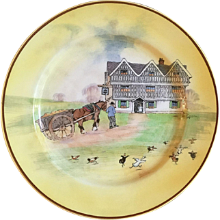 RARE Vintage 1929 Royal Doulton Signed Cecil Aldin D4507 Horse and Cart Being Led to the Inn Old English Scenes Aldin B Rack Plate