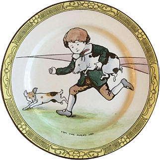 """RARE Early 1900s Royal Doulton Nursery Rhymes F Series """"Tom the Piper's Son"""" 10 1/2"""" Ceramic Rack Plate D2922 Signed with Artist's Monogram"""