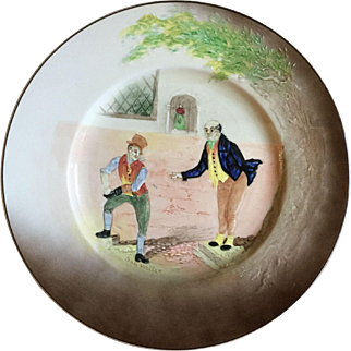 Vintage 1938 Dicken E Charles Dickins Sam Weller Mr. Pickwick Papers Royal Doulton Low Relief Ceramic Rack Plate Old English