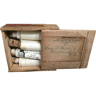 Antique 19th C Set Dr. E. L. Graves UnEqualed Tooth Powder 4 Vial Samples Cork Stoppers Contents Labels Instructions in Wood Box Homeopathic
