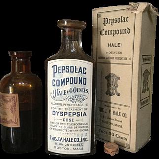 Antique Pepsolac Compound Dyspepsia J. V. Hale Co. Quack Medicine Bottle All Original Paper Label Contents Cork Stopper and Box Apothecary
