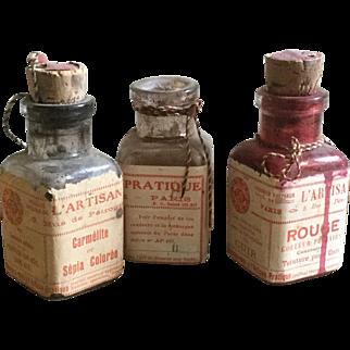 Antique French L'Artisan Pratique Small Leather Dye Bottles Cork Stoppers Paper Labels Interior Design Art Supplies Paris France