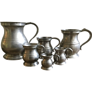 Antique Group of 6 Graduated English Pewter Measures VR ER James Yates Imperial Tavern Bar Ware Quart, 1/2, 1 Pint, 1/4, 1/2, 1 Gill