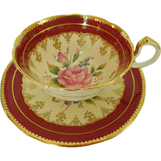 John Aynsley & Sons 894 Burgundy and Filigree Border Gold Gilt Trim Rose Floral Center
