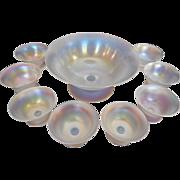 Steuben Art Glass Frederick Carder Verre de Soie Large Set of 9: 8 Salt Cellars/Nut Dishes and 1 Bowl