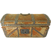 Antique 1849 Hide Covered Dome Top Document Box Small Trunk Brass Handle