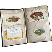 Antique 19th C Victorian Calling Card Salesman Sample Book Gorgeous Embossed Ribboned Colorful Samples