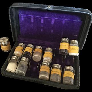 Mid 20th C Vintage Doctor's Opioid Pain Killers Medicine Traveling Kit/12 Screw Top Bottles Vials/Codeine/Anexsia/Purple Velvet Interior