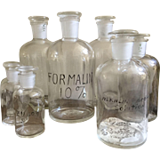 Vintage Pyrex Eight Apothecary Jars/Reagent Bottles/Ground Stoppers/Formaldehyde/Formalin/Handwritten Labels/Halloween Prop/Mad Scientist