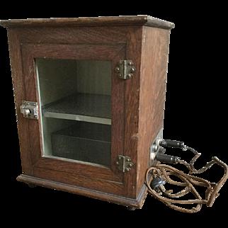 RARE Early 1900s Frank S. Betz Oak Sterilizer Cabinet with Original Electric Cord & Shelf, Hammond Indiana Medical Prop