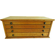 Early 20th Century Solid Ash Watchmakers Watch Crystal Multi-drawer Cabinet