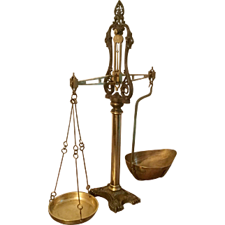 """Antique Class 1 W & T Avery 25"""" Large Brass and Gilt Iron Equal Arm Beam Balance Shop Scale Crown ER 02 (Edward VII) with Grain Scoop"""