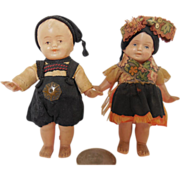 Vintage Miniature Celluloid German Dolls Boy and Girl