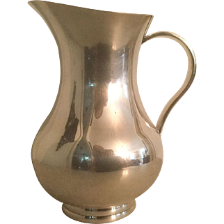 Christofle Modern Silver Plate Water Cocktail Pitcher with Ice Lip France Hollowware