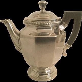 "Christofle Colbert Silver Plate 7 3/4"" H Teapot Elegant Spout Ebony Finish Wood Handle"