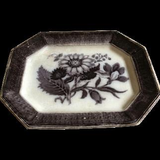 "Antique RARE 15 5/8"" Large T. Walker Flora Circa 1845 Mulberry Transferware Flow Black Floral Gothic Halloween Serving Platter"