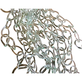 10+ FOOT Continuous GLASS Whimsy Chain Antique 19th C Glasshouse End of Day Frigger Aqua Bottle-Green Art Glass Glows Under Blacklight