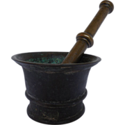 Antique 18th C Heavy Bronze Mortar Pestle Apothecary Set