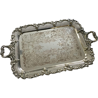 """Stunning Antique Victorian Large 22"""" Serving Tray William Adams England Very Ornate Highly Detailed with Grapevine Borders Handled Footed"""