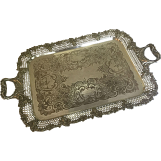 """Antique Silver Plate Large 27"""" Serving Butler's Tray Yeoman of England Co. Handled Grape Vine Borders Silver on Copper"""