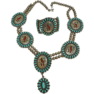 Vintage 1960's Native American Indian Zuni Silver, Turquoise Coral Necklace and Bracelet signed GR