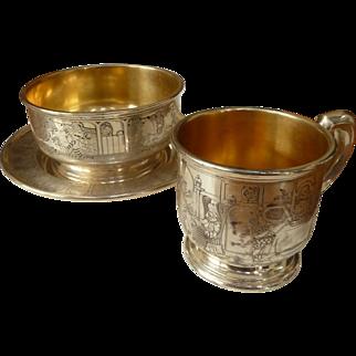 Rare Gorham Sterling Silver Gold Wash Child's Nursery Rhyme Set 3 pieces