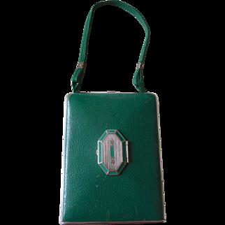Vintage 1930's Mondaine New York Paris Green Leather Compact Purse