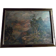 "From Painting by Thomas Moran ""The Grand Canyon of Arizona from Hermit Rim Road"" Framed Chromolithograph"