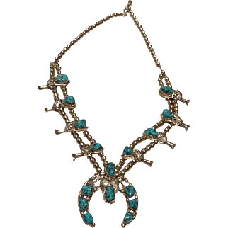 14k gold and turquoise Squash Blossom necklace G & N Henry