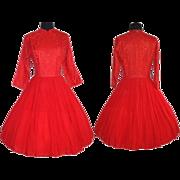 Vintage 1950s Dress  .  50 Dress  .  Red  .  Party Dress