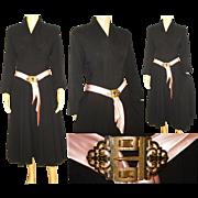 Vintage 1940s Dress  .  Art Deco Belt Buckle  .  40s vintage dress