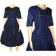 Vintage 1950s Dress  .  Navy Blue  .  50 Dress  .  Party Dress