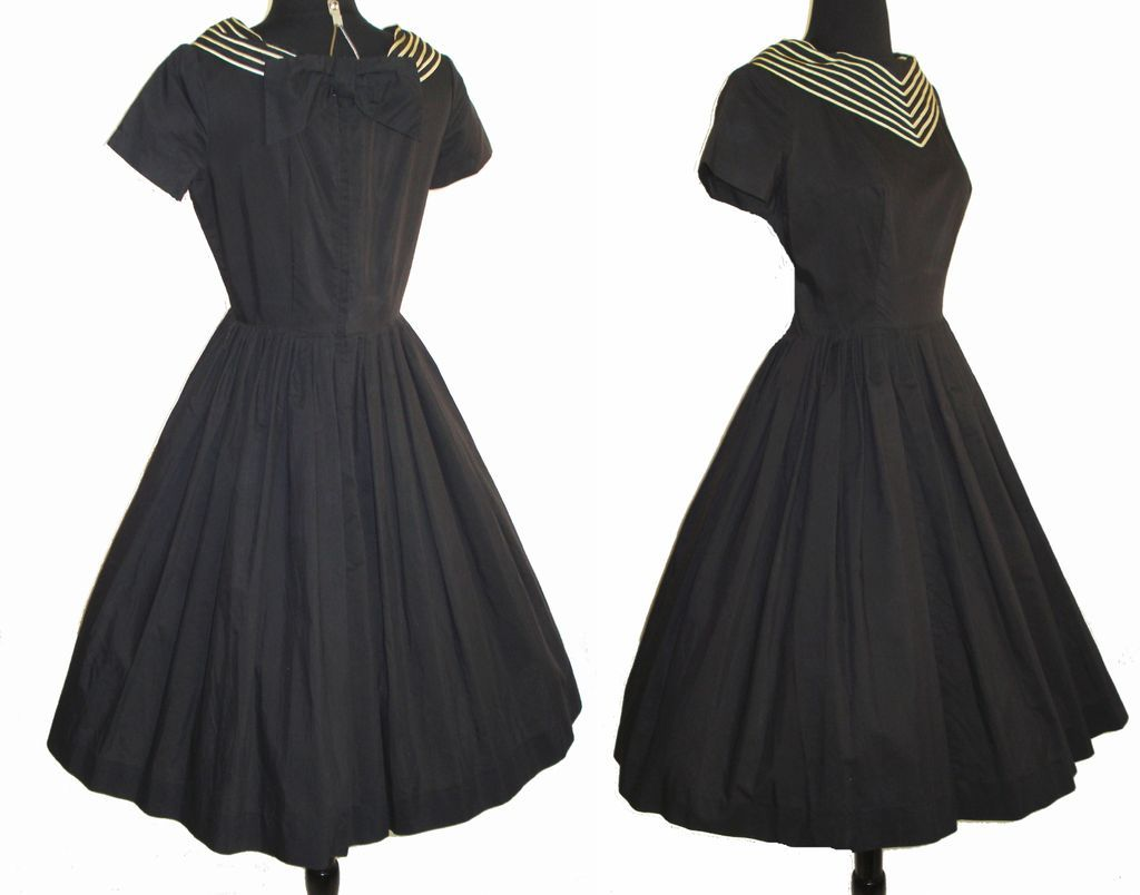 Vintage 1950s dress couture full circle skirt black for 41 river terrace new york ny 10282