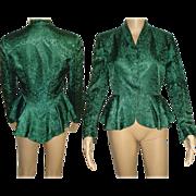 Vintage 1950s Jacket . Layered Peplum  .  Green  .  Brocade