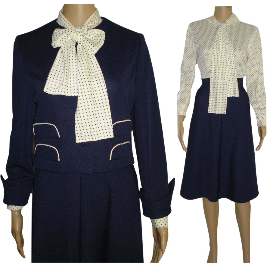 Vintage 1960s dress leslie fay matching jacket navy for 41 river terrace new york ny 10282