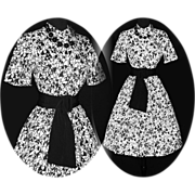 Vintage 1950s Dress  .  Novelty Print  .  50s Dress  .  Garden Party Couture Black White