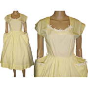 Vintage 1950s Dress  .  New Look .  Full Skirt  .  Yellow . 60s Dress