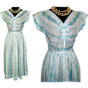 Vintage 1950s Dress  .  Sheer .  50s Dress . Designer .  Couture Femme Fatale