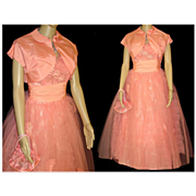 Vintage 1950s Dress .  50s Gown .  Strapless  .  Bolero  . Matching Purse .  XS