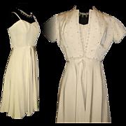 Vintage 1950s Dress  .  Matching Bolero Jacket  . Vintage  . Crème .  Rhinestone  . Couture
