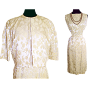 Vintage 1950s Dress  .  Bolero Jacket  . Flocked .  Brocade .  Creme Hourglass Couture