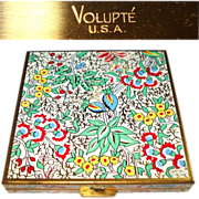 Vintage Compact . Volupte . 1940s compact  .  Collectible  . Enameled Floral