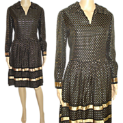 Vintage 1960s Dress  .  Saks Fifth Avenue  .  Couture  .  Party Dress  .  Mad Man  .  Gold Metallic Polka Dots