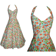 Vintage 1950s Dress . 50s Halter Dress . Strawberries . Mad Men . Garden Party .