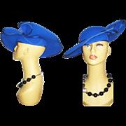 Vintage Hat . Designer . Made in England . Royal Blue . High Fashion .