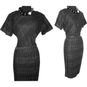 Vintage 1950s Dress . Cay Artley . Black Couture New Look Femme Fatale Garden Party