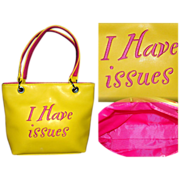 Vintage Purse  . handbag .  couture mad men rockabilly yellow embroidered pink letters
