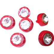 Vintage Buttons  .  Red .  Lucite . Rhinestone Centers . Set of 6