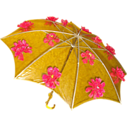 Vintage 1950s Umbrella . Parasol . Clear . Flowers . Unique . Pink